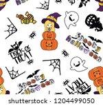 happy halloween seamless all... | Shutterstock .eps vector #1204499050