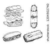 hand drawn sketch sandwiches...   Shutterstock .eps vector #1204502740