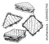 hand drawn sketch sanwiches set.... | Shutterstock .eps vector #1204502743