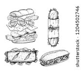 hand drawn sketch sanwiches set.... | Shutterstock .eps vector #1204502746