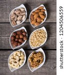 mix of nuts   pistachios ... | Shutterstock . vector #1204506559