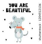 vector poster with cartoon cute ... | Shutterstock .eps vector #1204512136