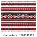 set of seamless embroidered... | Shutterstock .eps vector #1204513120