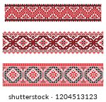 set of seamless embroidered... | Shutterstock .eps vector #1204513123