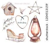 watercolor winter illustrations ... | Shutterstock . vector #1204513159