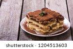 homemade tiramisu cake . sweet... | Shutterstock . vector #1204513603