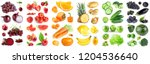 collection of color fruits and... | Shutterstock . vector #1204536640