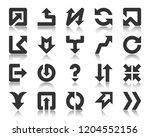 arrow glyph icons set. outline... | Shutterstock .eps vector #1204552156