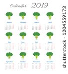 calendar 2019 with cute funny...   Shutterstock .eps vector #1204559173