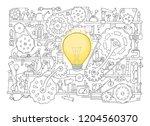 sketch of people teamwork ... | Shutterstock .eps vector #1204560370