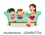 mother reading fairy tales to... | Shutterstock .eps vector #1204567726