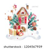 gingerbread house  watercolor... | Shutterstock . vector #1204567939