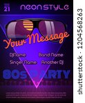 a4 neon style party flyer... | Shutterstock .eps vector #1204568263