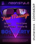 a4 neon style party flyer... | Shutterstock .eps vector #1204568269