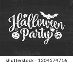 halloween party poster. hand... | Shutterstock .eps vector #1204574716