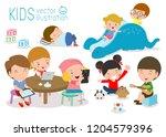 group of happy school kids in... | Shutterstock .eps vector #1204579396