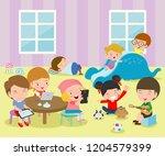 group of happy school kids in... | Shutterstock .eps vector #1204579399