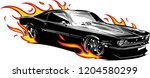 vector muscle car with flames... | Shutterstock .eps vector #1204580299