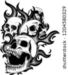 skull on fire with flames... | Shutterstock .eps vector #1204580329