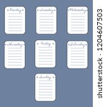 the sheets of the planner on a...   Shutterstock .eps vector #1204607503