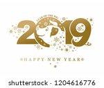 year of the pig 2019. golden...   Shutterstock .eps vector #1204616776