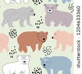 seamless pattern with cute... | Shutterstock .eps vector #1204633360