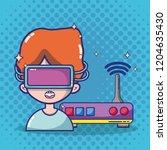 virtual reality headset cartoon | Shutterstock .eps vector #1204635430