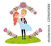wedding portrait cartoon | Shutterstock .eps vector #1204643686