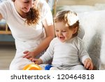 young mother playing with her... | Shutterstock . vector #120464818