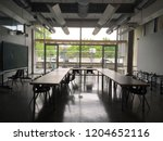 empty classroom with big glass... | Shutterstock . vector #1204652116