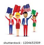 group of flag waving people | Shutterstock .eps vector #1204652509
