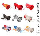 megaphone icon set. isometric... | Shutterstock .eps vector #1204669939