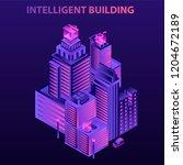 modern intelligent building... | Shutterstock .eps vector #1204672189