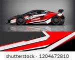 racing car wrap design. sedan... | Shutterstock .eps vector #1204672810