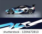 racing car wrap design. sedan... | Shutterstock .eps vector #1204672813