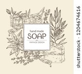 background with handmade soap ... | Shutterstock .eps vector #1204674616