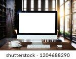 computer monitor  keyboard ... | Shutterstock . vector #1204688290