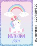 glitter pink blue card with...   Shutterstock .eps vector #1204689820