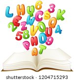 open book with a colorful... | Shutterstock .eps vector #1204715293