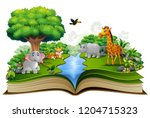 open book with the animal... | Shutterstock . vector #1204715323