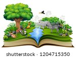 open book with the animal... | Shutterstock . vector #1204715350