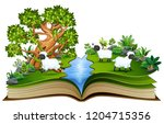 open book with group of sheep... | Shutterstock . vector #1204715356