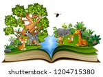 open book with the animal... | Shutterstock . vector #1204715380