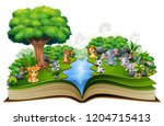 open book with river and baby... | Shutterstock .eps vector #1204715413