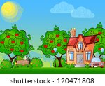 background cartoon house... | Shutterstock .eps vector #120471808
