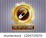 shiny badge with bandage... | Shutterstock .eps vector #1204725070