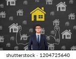 human hand drawing home choose... | Shutterstock . vector #1204725640