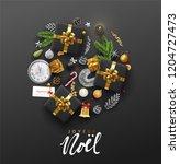 french lettering joyeux noel.... | Shutterstock .eps vector #1204727473
