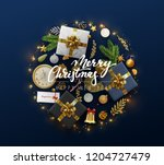 christmas greeting card with... | Shutterstock .eps vector #1204727479