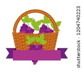 wicker basket with fresh grapes | Shutterstock .eps vector #1204740223